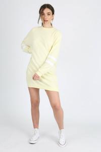 Pastel Yellow Sports Stripe Jumper Dress