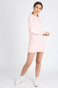 Pink Sports Stripe Jumper Dress