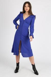 Indigo Button Down Midi Dress