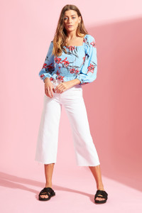 Santa Fey Floral Shirred Crop Top