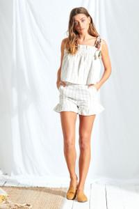 Maya Stripe Ruffle Hem Shorts