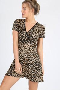 Leopard Print Fixed Wrap Mini Dress