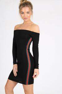 Black Bardot Sports Stripe Mini Dress