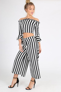 Black and White Stripe Co Ord Set