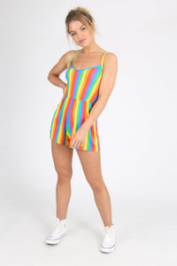 Rainbow Stripes Spaghetti Strap Playsuit
