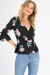 Black Floral Fixed Wrap Top