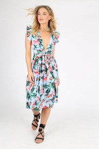 Tropical Print Plunge Neck Double Split Midi Dress