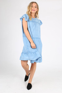 Blue Chambray Smock Dress