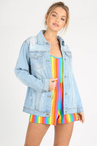 Light Wash Studded Denim Jacket