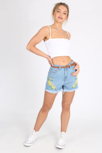 Light Wash Frayed Hem Embroidered Denim Shorts