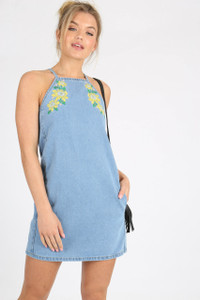 Blue High Neck Embroidered Denim Mini Dress