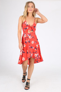 Red Floral Print Tie Front Midi Dress