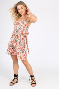 Pink Poppy Floral tie Back Midi Dress
