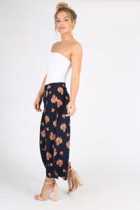 Navy Floral Wide Leg Culotte Pants