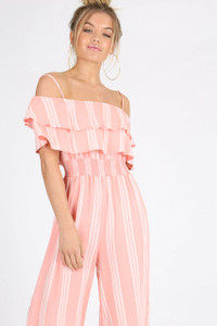 Baby Pink Stripe Double Ruffle Layer Jumpsuit