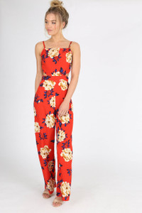 Red Floral Cut Out Waist Jumpsuit