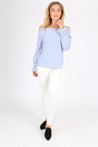 Blue Stripe Cotton Shirred Bardot Top
