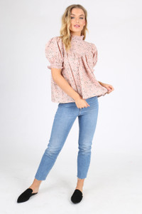 Pink Ditsy Floral Puff Sleeve Top