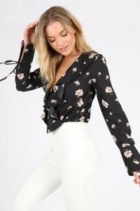 Black Floral Ruffle Front Bodysuit