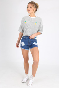 Oversized Cropped Pineapple Detail Tee