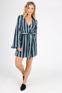 Navy Stripe Plunge Neck Wrap Mini Dress