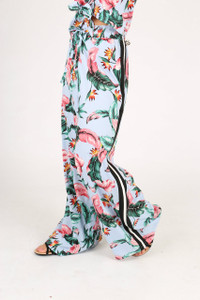 Tropical Print Sports Stripe Wide Leg Trousers
