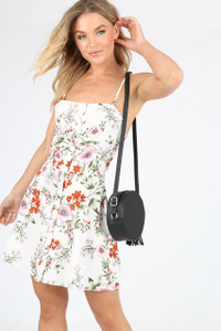Cream Floral Button Down Mini Sundress