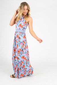 Blue Floral Lace Insert Maxi Dress