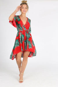 Red Leaf Print Hanky Hem Mini Dress