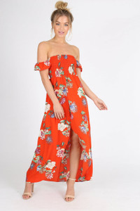 Red Shirred Top Bardot Maxi Wrap Dress