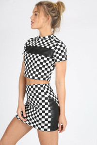 Black/ White Check Leather Insert Co Ord