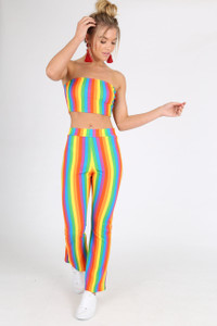 Rainbow Stripe Top & Culotte Co Ord Set