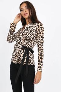 Leopard Print Self Tie Wrap Blouse