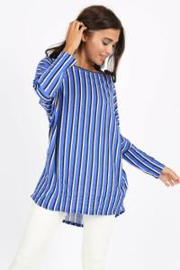 Blue Stripe Batwing Top