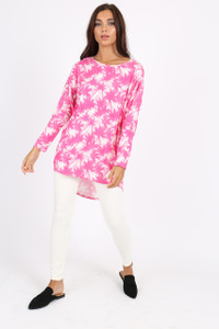 Pink Palm Tree Print Batwing Top