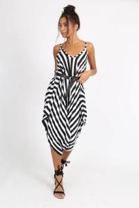 Monochrome Stripe  Harem Style Jumpsuit