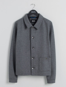 Grey Wool Blend Jacket With Pocket Detail