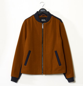 Rust/Navy Wool Bomber Jacket In 2 Colour Panels