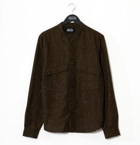 Brown Alford Curved Hem Long Sleeve Shirt