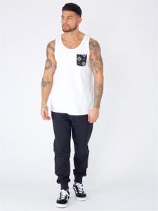 White Aztec Print Pocket Vest