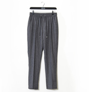 Charcoal Pinstripe Pennyworth Chino Pant With Drawcord Waistband