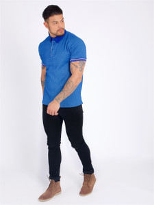 Blue S/Sleeve Polo Shirt With Ribbed Cuffs And Tipping Detail
