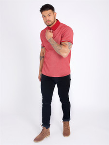 Red S/Sleeve Polo Shirt With Ribbed Cuffs And Tipping Detail