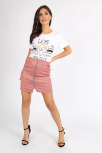 Pink Suedette Zip Front Mini Skirt