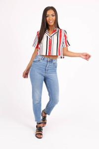 Multi Stripe Button Down Cropped Shirt