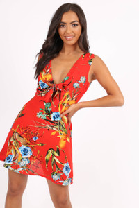 Red Abstract Floral Plunge Neck Mini Dress
