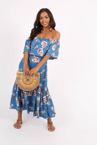 Blue Floral Double Layer Bardot Midi Dress