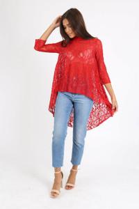 Red Lace Wide Cut Dip Hem Top