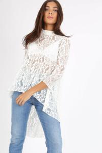 White Lace Wide Cut Dip Hem Top