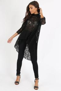 Black Lace Wide Cut Dip Hem Top